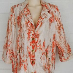 Chico's 3 L XL ikat casual snap front linen jacket